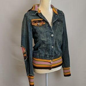 Vtg Rubber Doll Unique Jean Jacket Sweater Trim